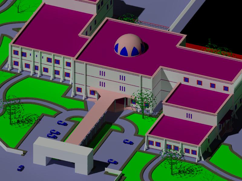دانلود پروژه بیمارستان اتوکد و رندر سه بعدی
