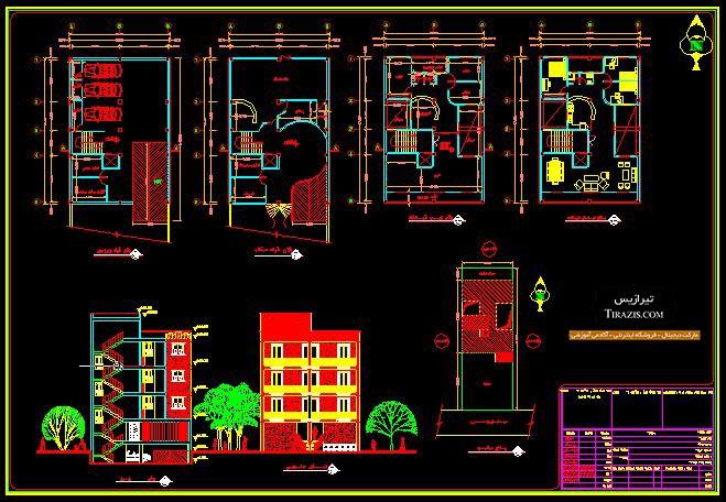 پلان آپارتمان پنج طبقه